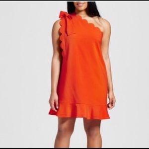 Orange cold shoulder dress with Bow